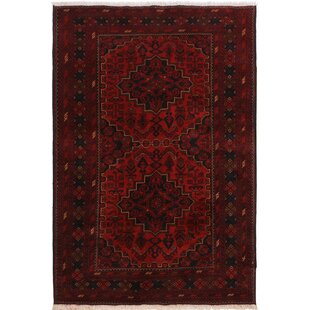 Great choice One-of-a-Kind Cremeans Hand-Knotted 4'2 x 6'6 Wool Red/Black Area Rug By Isabelline