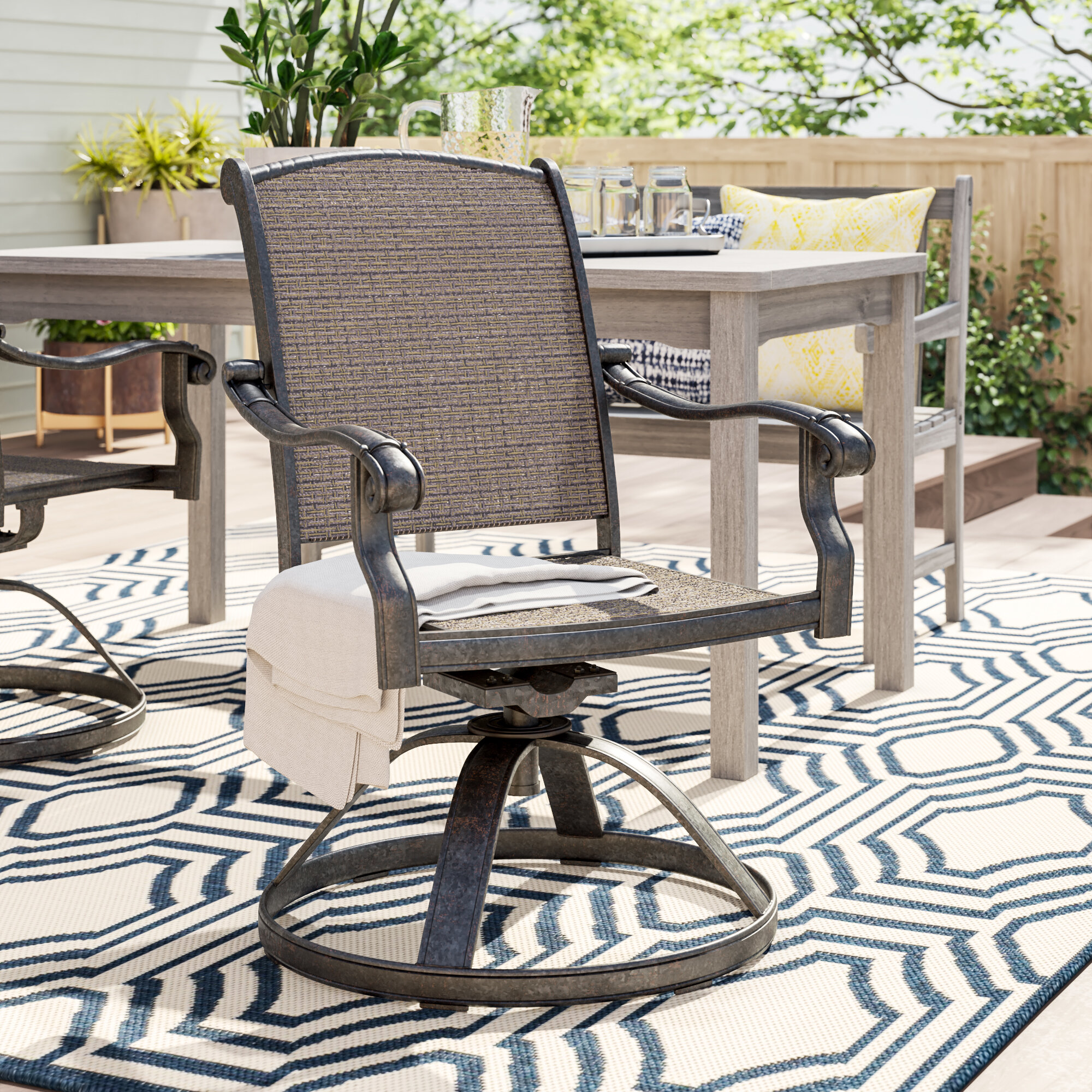 Awe Inspiring Sol 72 Outdoor Harland Swivel Patio Dining Chair Wayfair Inzonedesignstudio Interior Chair Design Inzonedesignstudiocom
