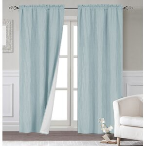 Maxwell Solid Room Darkening Thermal Rod Pocket Curtain Panels (Set of 2)