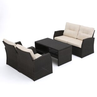 Bakke 4 Piece Rattan Sofa Set With Cushions by Mercury Row Best #1