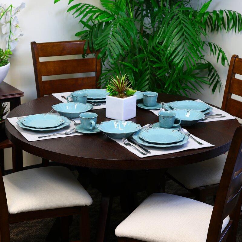 Wick St Lawrence Fleur De Lys 16 Piece Dinnerware Set, Service For 4