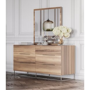 Kingon 6 Drawer Double Dresser With Mirror by Brayden Studio 2019 Sale