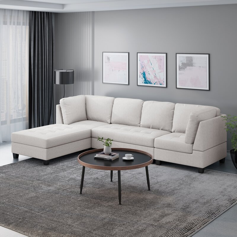 "Sawyer 119"" Left Hand Facing Modular Sectional with Ottoman"