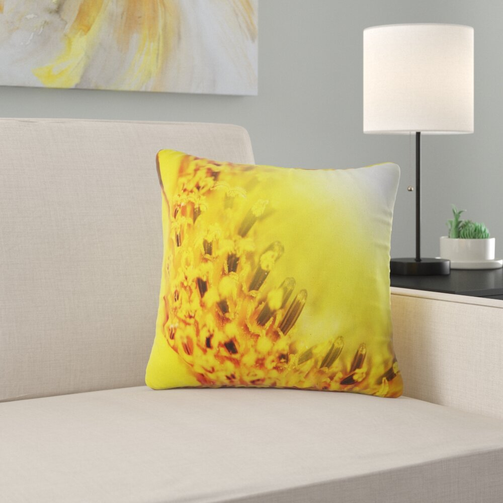 East Urban Home Floral Bright Sunflower Close Up Pillow Wayfair
