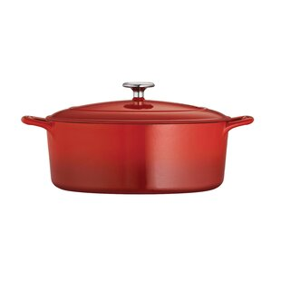 Gourmet Enameled Cast Iron 7 Qt. Enameled Cast Iron Oval Dutch Oven