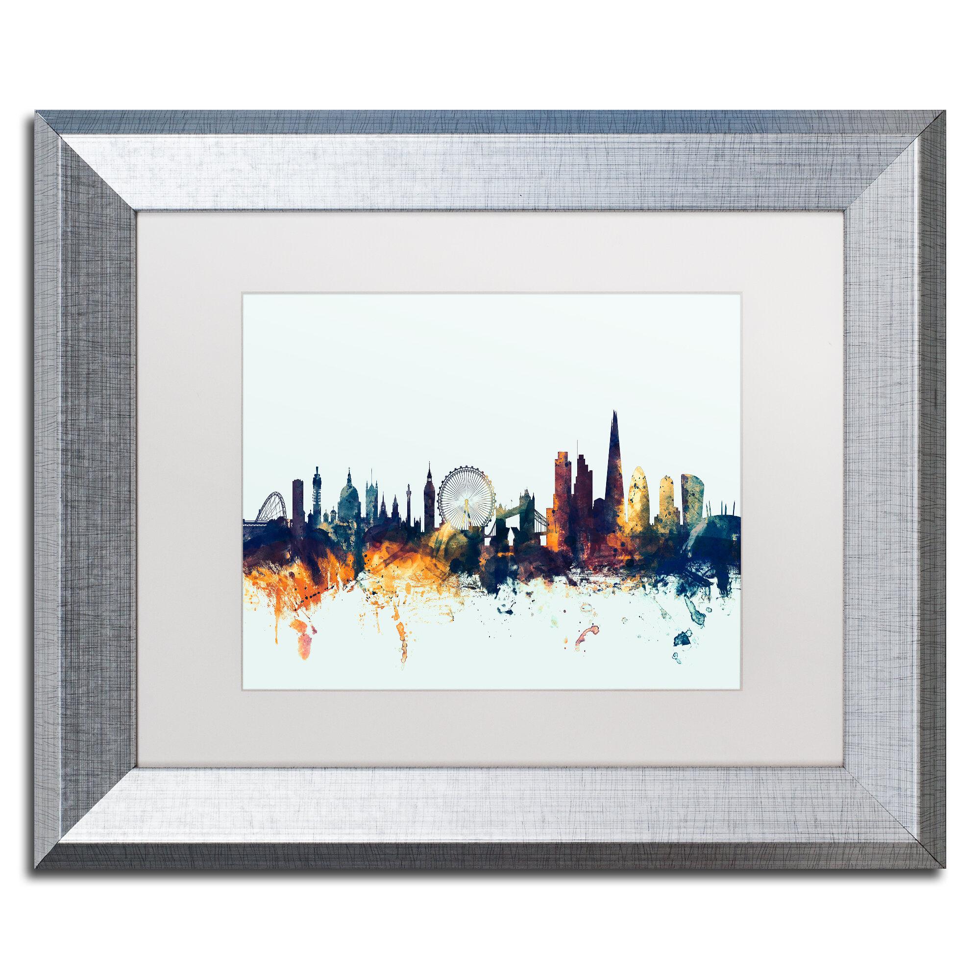 Trademark Art London England Skyline Blue Framed Graphic Art Wayfair