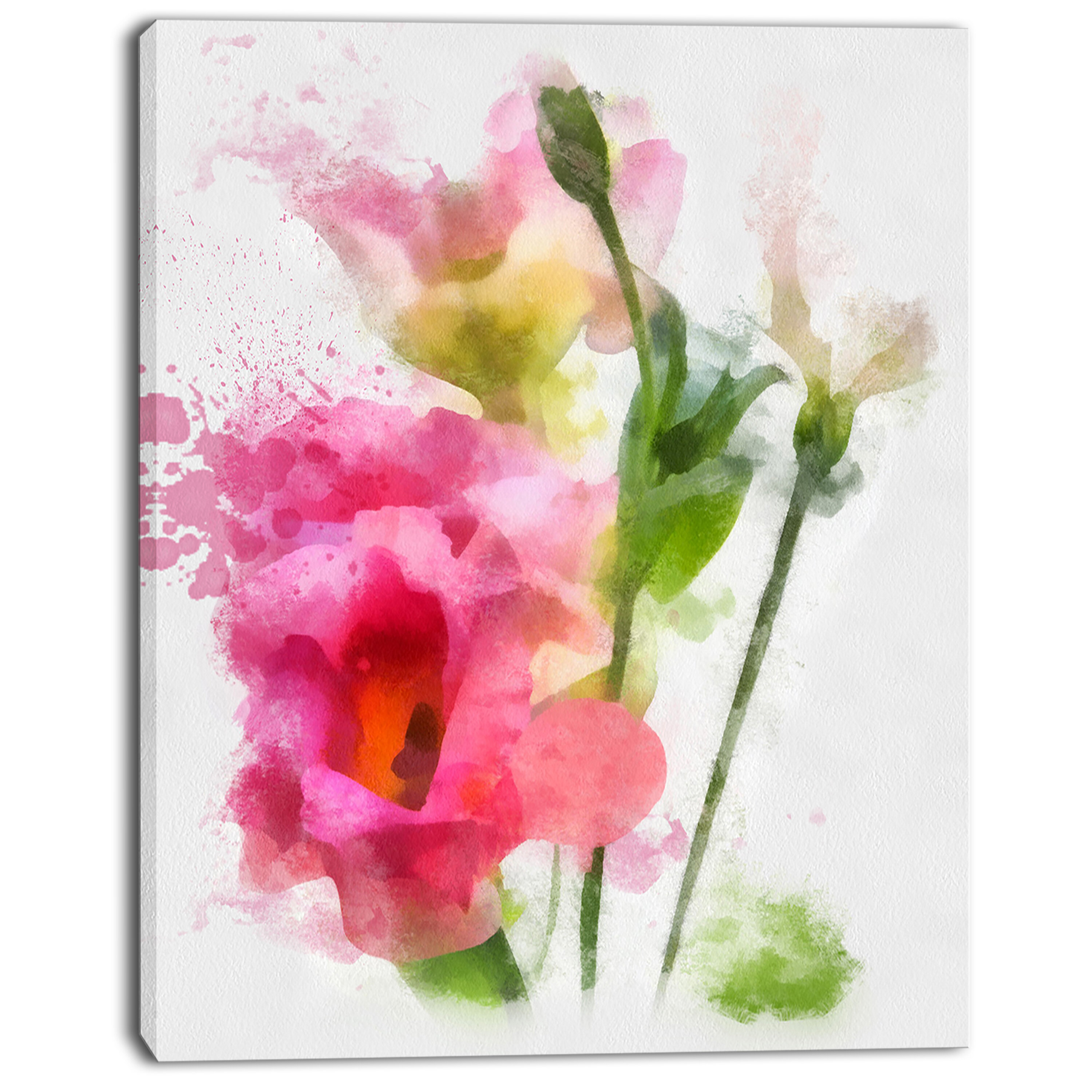 Designart Hand Drawn Pink Watercolor Flower Painting Print On