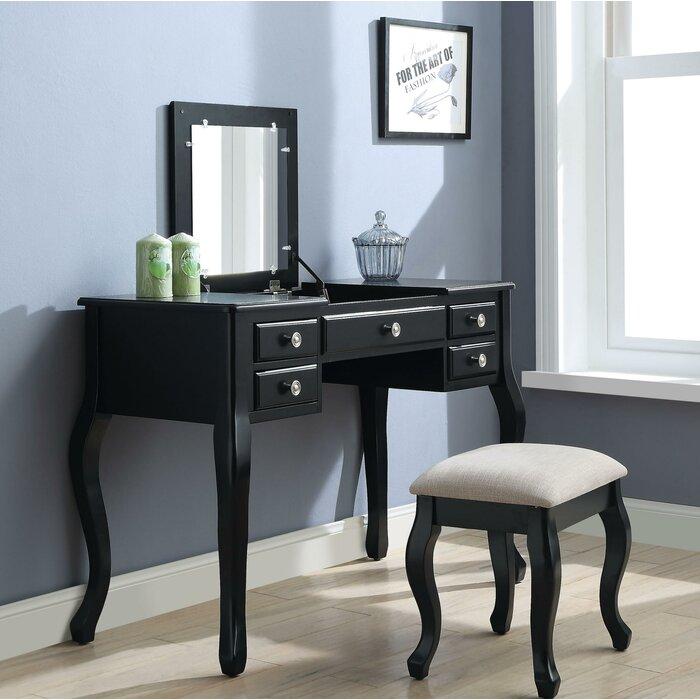 Runge 5 Drawer Wooden Vanity Set with Mirror