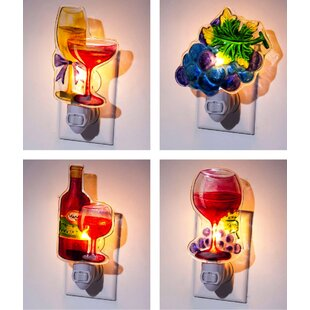 Evergreen Enterprises, Inc 4 Piece Wine Night Light Set