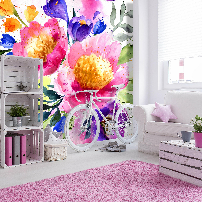 House Of Hampton Darien Removable Purple Bouquet 4 17 L X 50 W Peel And Stick Wallpaper Roll Wayfair