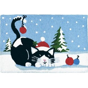 Compare Erickson Kitty with Ornaments Hand-Tufted Blue/Black Indoor/Outdoor Area Rug By The Holiday Aisle