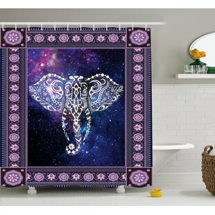 Price Check Azariah Space Galaxy Elephant Shower Curtain ByBloomsbury Market