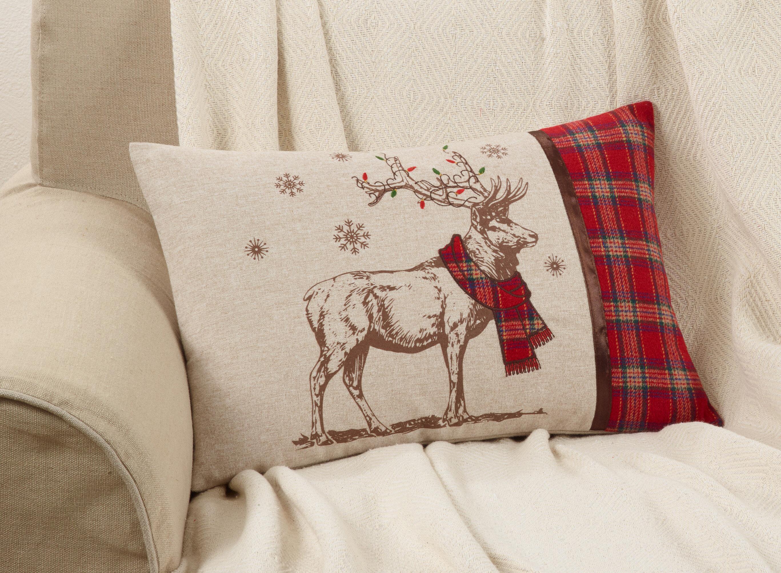 Image of: The Holiday Aisle Shearer Reindeer Decorative Lumbar Pillow Reviews Wayfair