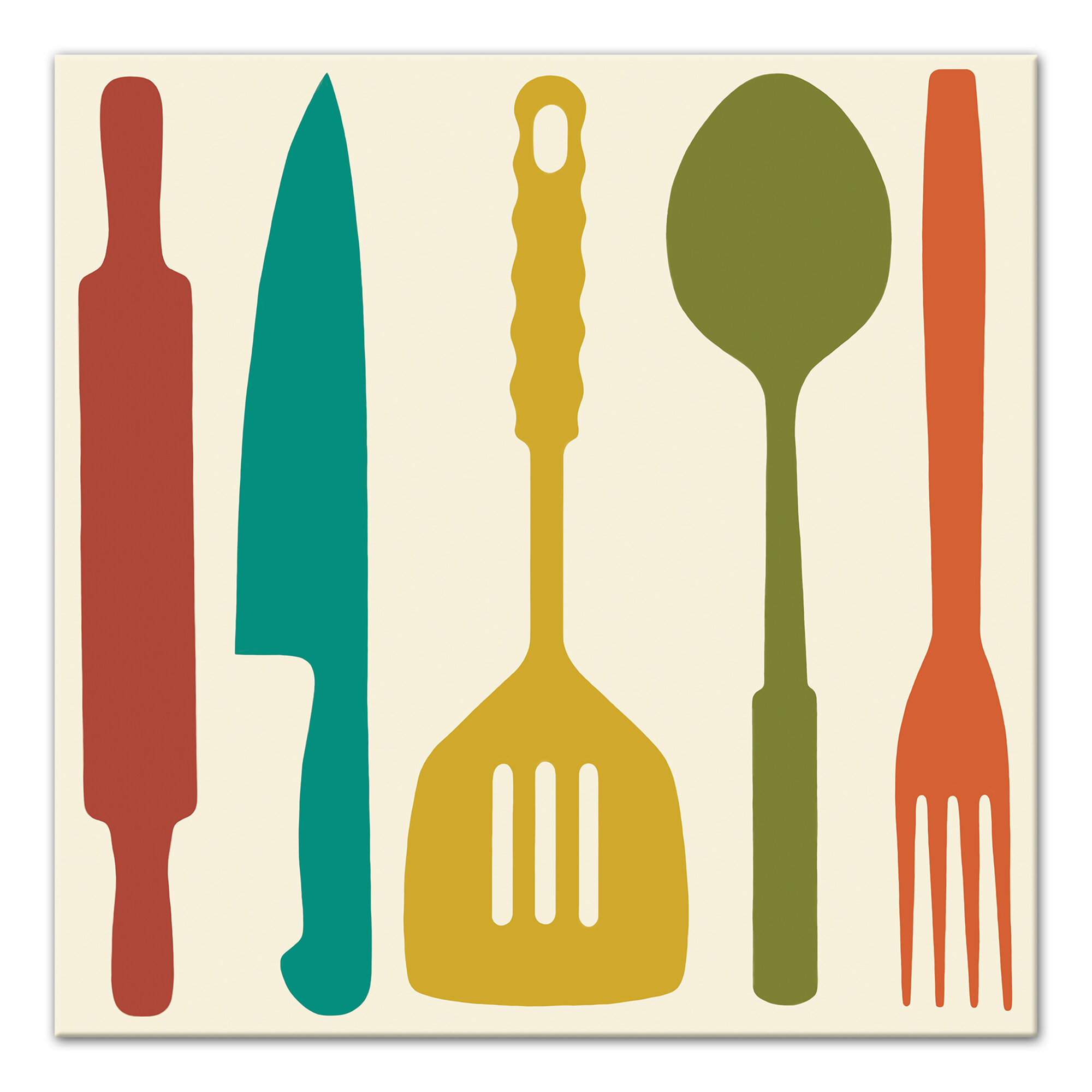 \'Colorful Kitchen Utensils\' Graphic Art Print on Canvas