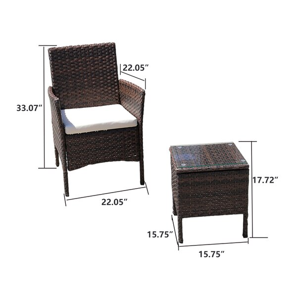 Latitude Run Glouster 3 Piece Rattan Seating Group With Cushions Reviews Wayfair