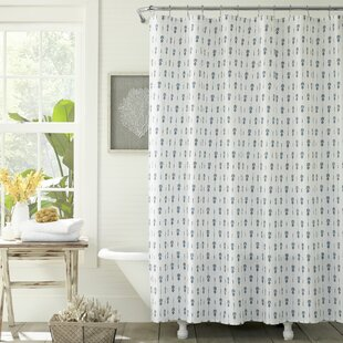 Pineapple Pinstripe Cotton Single Shower Curtain