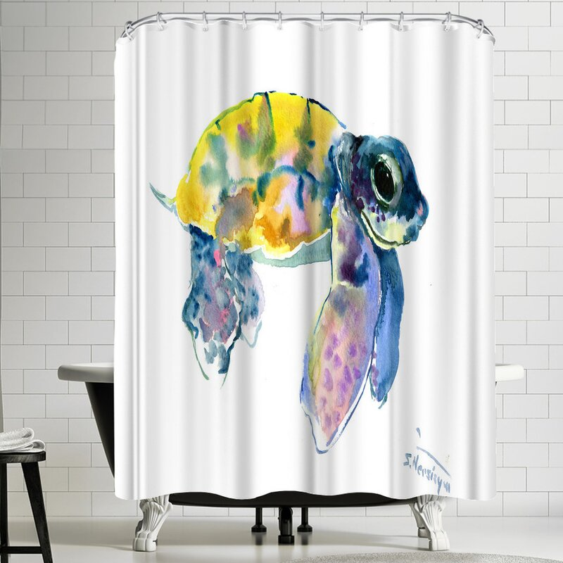 East Urban Home Suren Nersisyan Baby Sea Turtles 4 Single Shower Curtain Wayfair