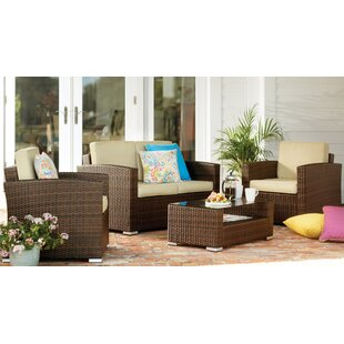 Sabrina 4 Piece Rattan Sofa Seating Group with Cushions