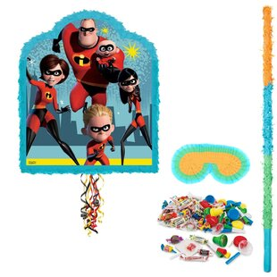 4 Piece The Incredibles Pinata Paper Disposable Hanging Decor Set