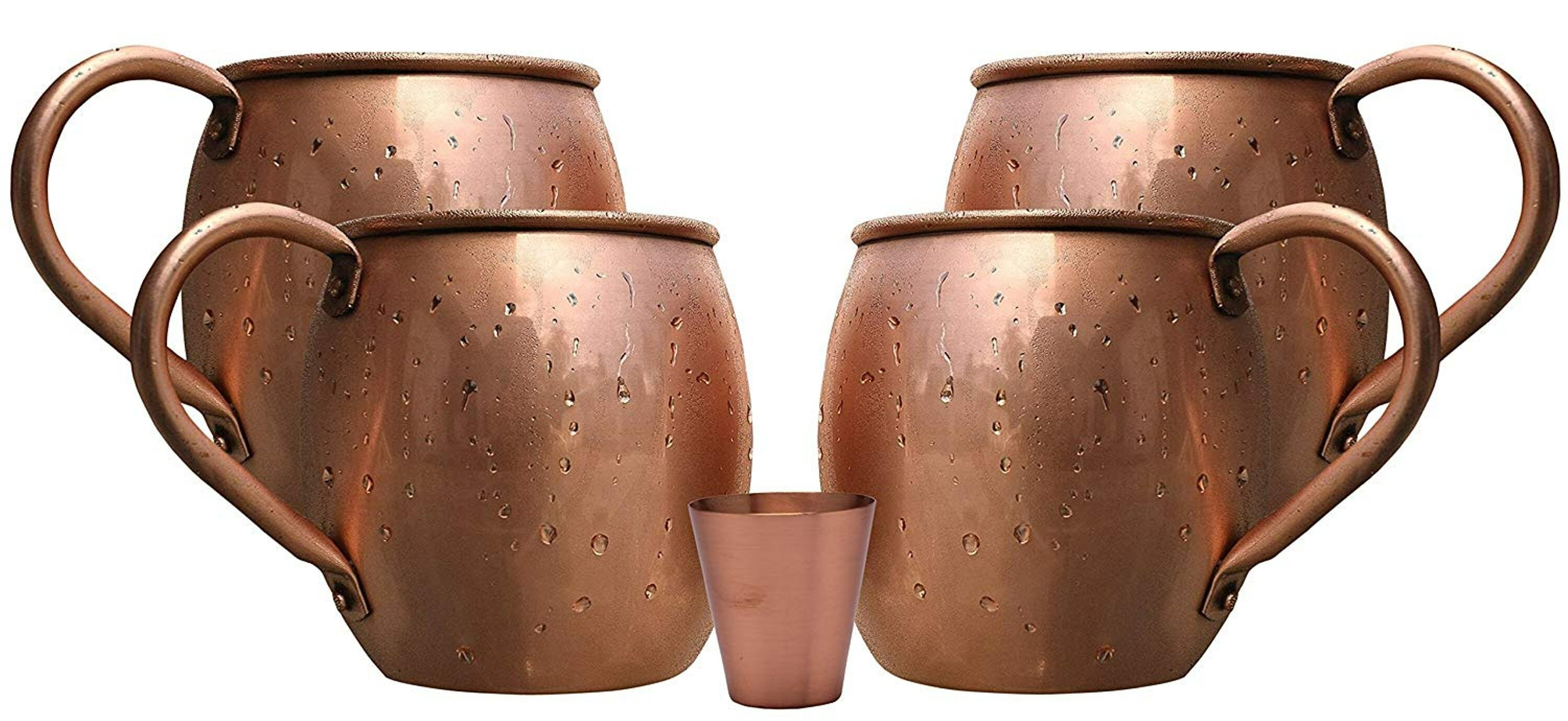 Melange 16 Oz Copper Barrel Mug For Moscow Mules Set Of 24 With Six Shot Glasses Heavy Gauge No Lining Includes Free Recipe Card Wayfair