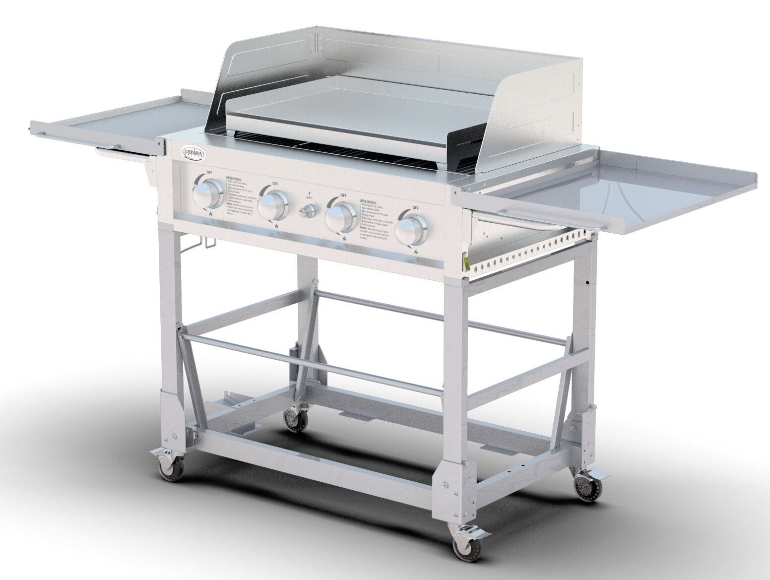 Louisianagrills 4 Burner Flat Top Propane Gas Grill With Side Shelves Reviews Wayfair