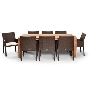 Hodge 9 Piece Teak Dining Set with Sunbrella Cushions by Rosecliff Heights