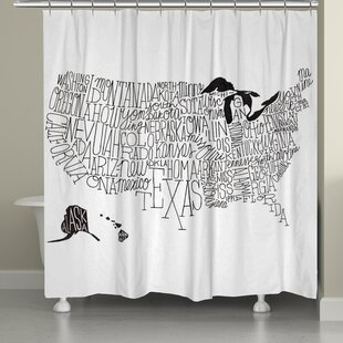 Hand Lettered US Map Single Shower Curtain