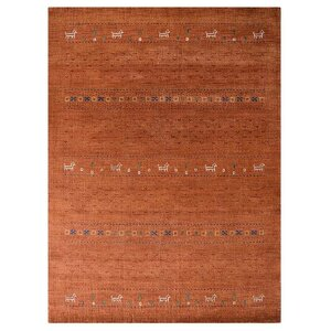 Maggiemae Hand-Knotted Wool Orange Area Rug