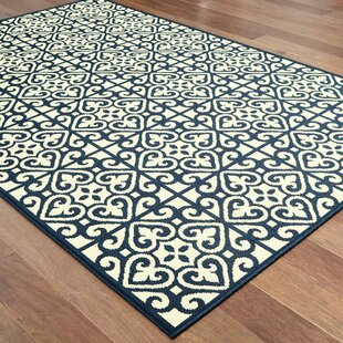 Salerno Intricate Lattice Beige/Navy Indoor/Outdoor Area Rug