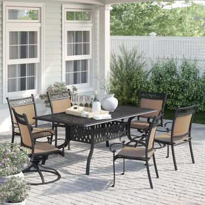 Curacao Traditional 7 Piece Dining Set by Sol 72 Outdoor 2020 Coupon