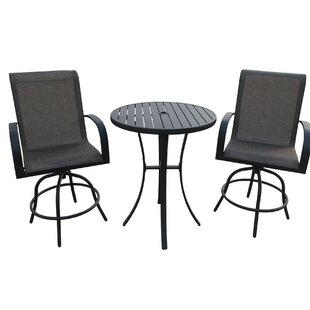 Stjohn 3 Piece Bar Height Swivel Chair Set with Metal Slat Table