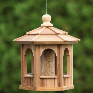 All Things Cedar Hexagon Decorative Tube Bird Feeder