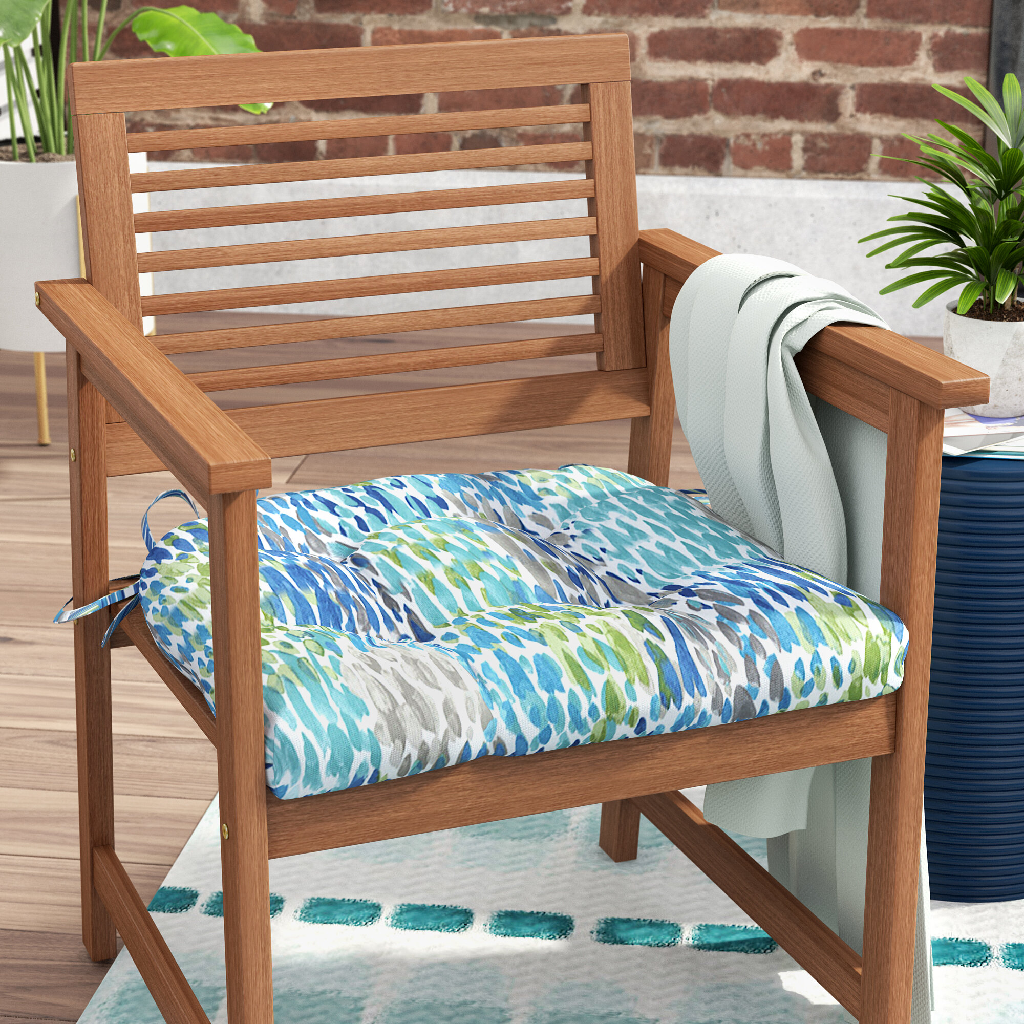 Phenomenal Make It Rain Cerulean Reversible Indoor Outdoor Dining Chair Cushion Machost Co Dining Chair Design Ideas Machostcouk