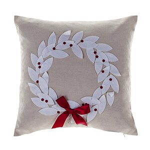 Divernon Poinsettia Wreath Throw Pillow