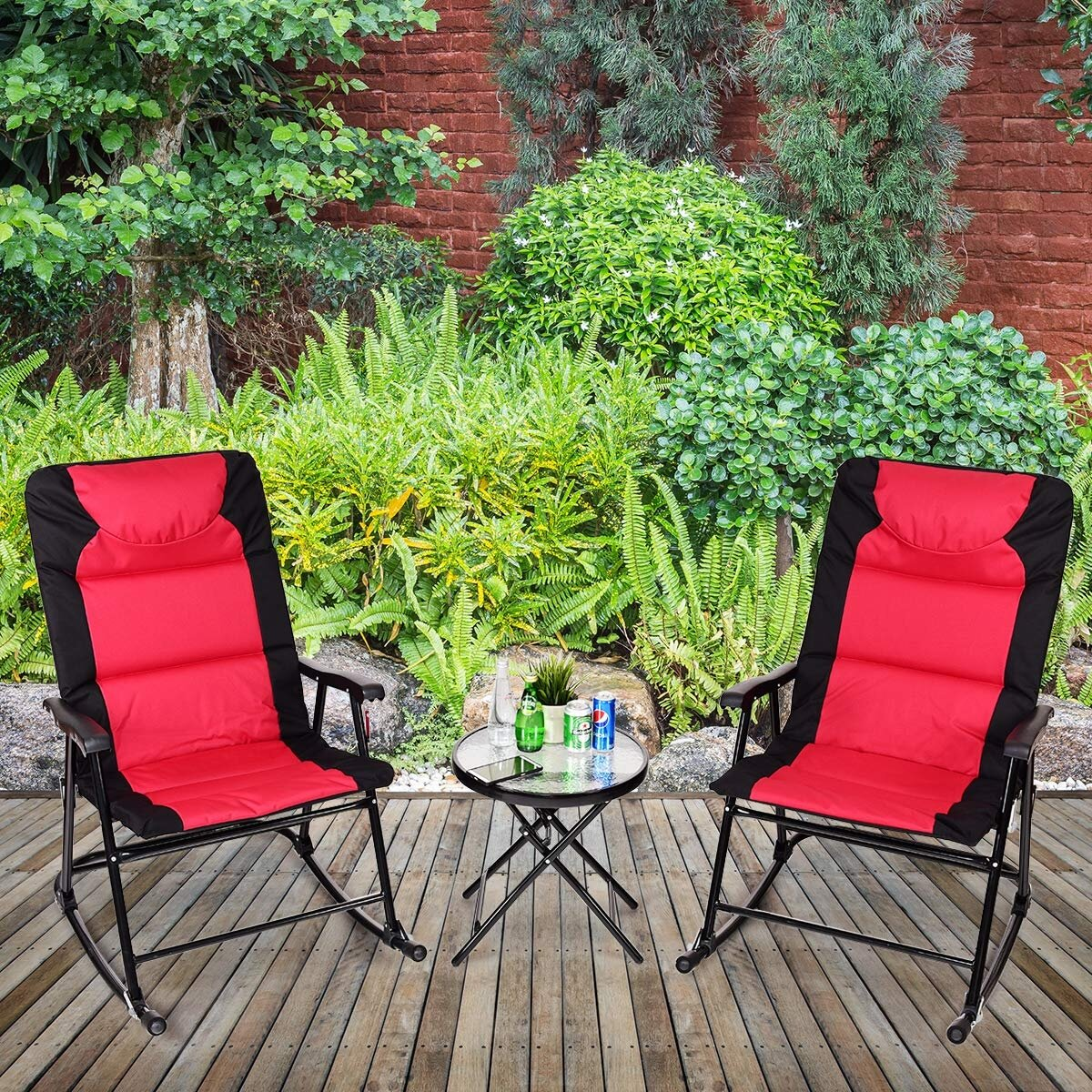 Arlmont Co Lowell Outdoor Rocking 3 Piece Seating Group Wayfair