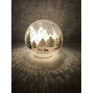 12 Warm White Crackle Effect Reindeer In Forest Glass Ball Lamp By The Seasonal Aisle