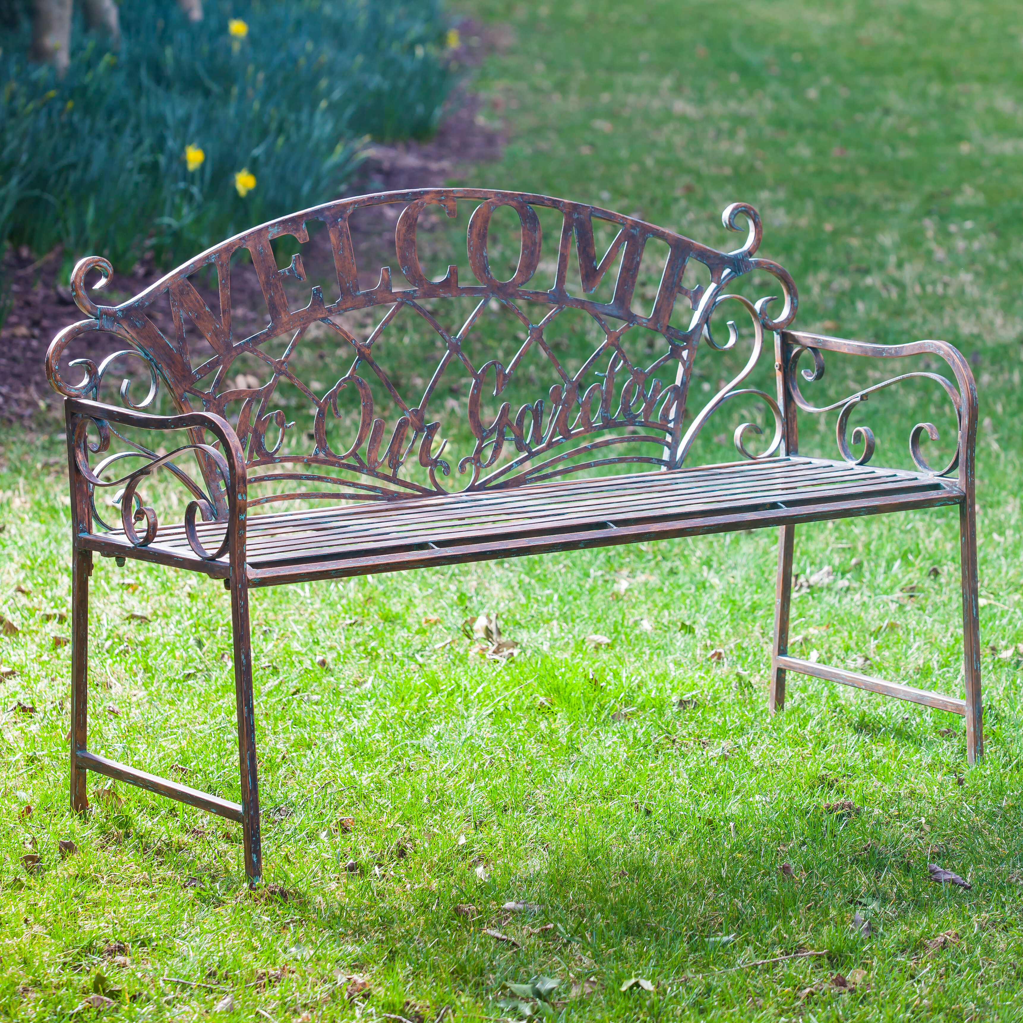 August Grove Hillingdon Welcome To Our Garden Metal Garden Bench