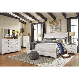 White rustic bedroom furniture Distress White Naples Sleigh Configurable Bedroom Set The Home Depot Bedroom Sets Birch Lane