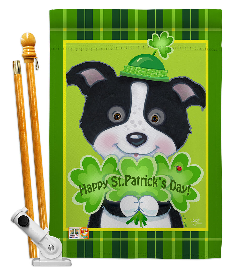 Breeze Decor Puppy Spring St Patrick 2 Sided Polyester 40 X 28 In Flag Set Wayfair