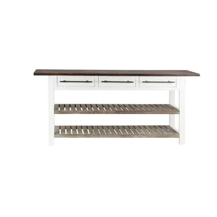 Gracie Oaks Eatontown Traditional 3-Drawer Console Table with Slatted Shelves