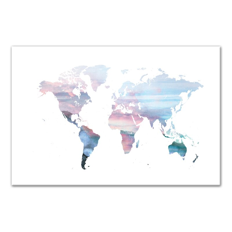 Bloomsbury market cool tones world map watercolor painting print cool tones world map watercolor painting print on canvas gumiabroncs Choice Image