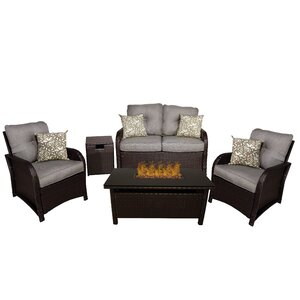 Hargrove 5 Piece Deep Seating Fire Pit Seating Group with Cushion