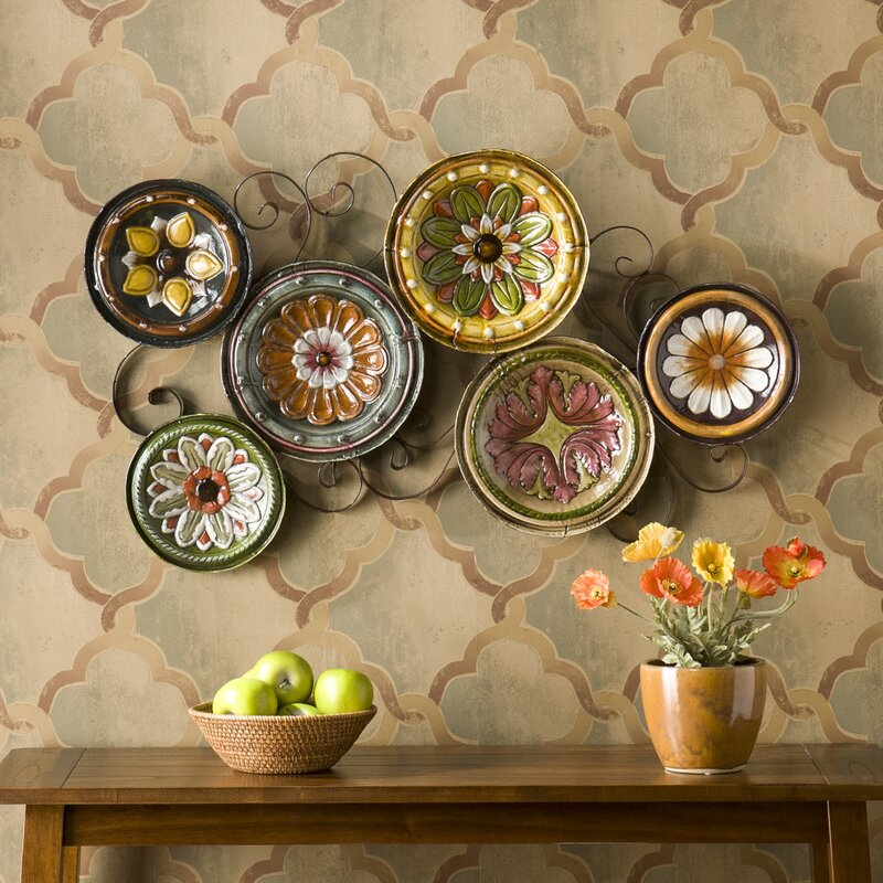 Genial Scattered Metal Italian Plates Wall Décor
