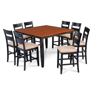 Charlestown 9 Piece Counter Height Solid Wood Dining Set Alcott Hill
