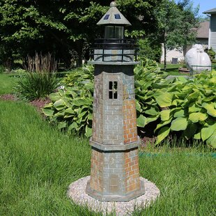 Longshore Tides Caulfield Brick Solar LED Lighthouse Statue