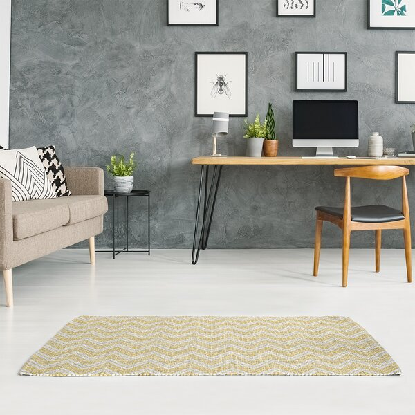 East Urban Home Reverse Hand Drawn Chevrons Lime Green Area Rug Wayfair