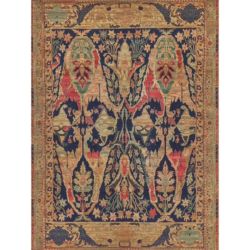 Exquisite Rugs Jurassic Hand Knotted Wool Bluebrown Area Rug Reviews Wayfair
