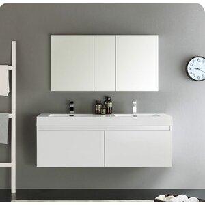 Senza 60 Mezzo Double Wall Mounted Modern Bathroom Vanity Set with Mirror