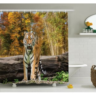 Animal Tiger in Forest Shower Curtain Set Ambesonne