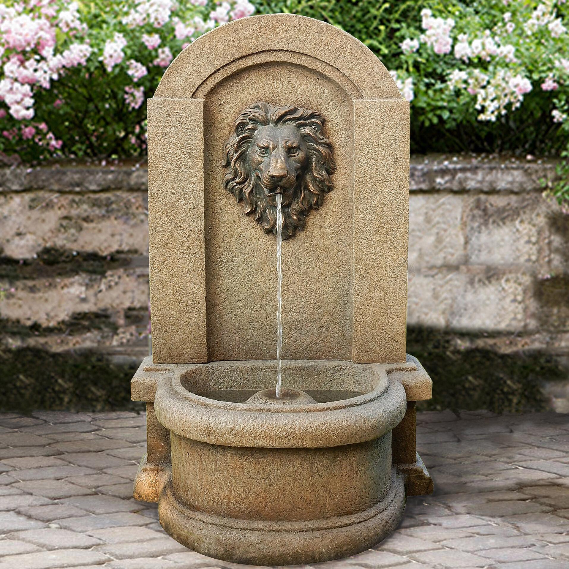 Resin Clic Lionhead Floor Fountain